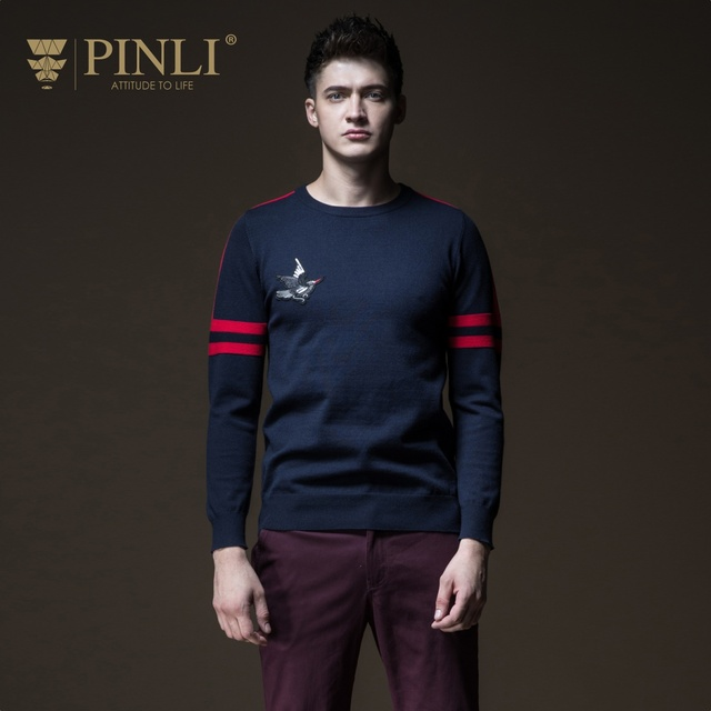Men Sweater Limited Pinli Pin Li 2018 Autumn New Men's Round Neckwear, Body Crash, Color Embroidered Sweater Knitted B183110444