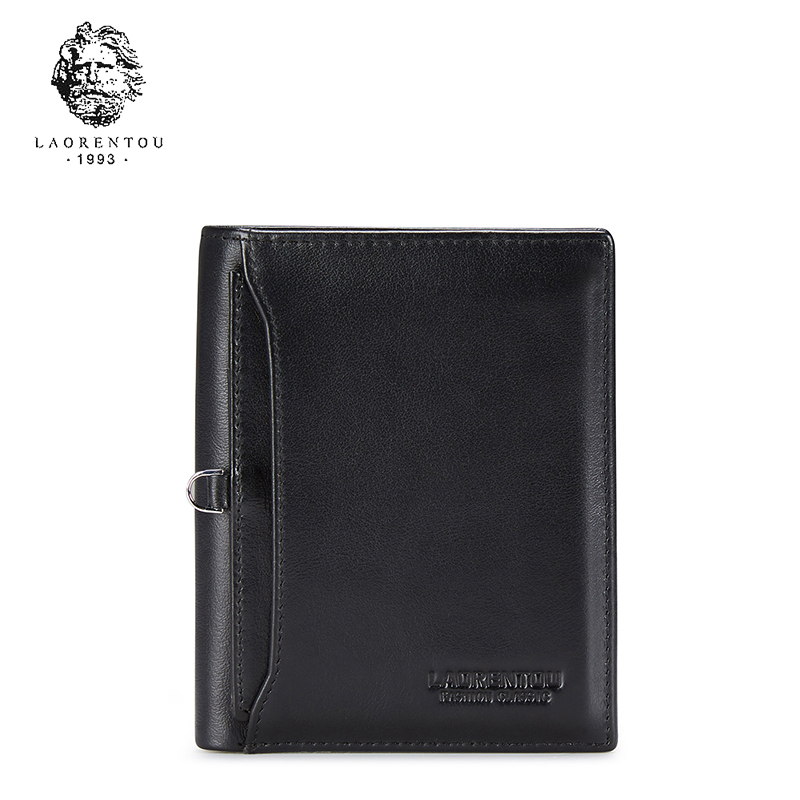 Laorentou Genuine Men's Wallets For Business Man Real Leather Wallet Casual Short Mens Wallet Leather Purse With Card Holder N53
