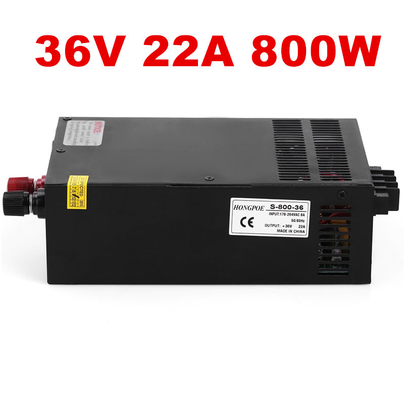 5PCS 800W 22A 36V Power Supply 36V Driver for LED Strip AC-DC 36V Power New high-power 36V22A S-800-36 цены