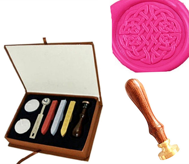 Vintage Decorative Celtic Knot Custom Picture Logo Wedding Invitation Wax Seal Sealing Stamp Sticks Spoon Gift Box Set Kit lace fower vintage wedding invitations laser cut blank paper pattern printing invitation card kit ribbons decorations