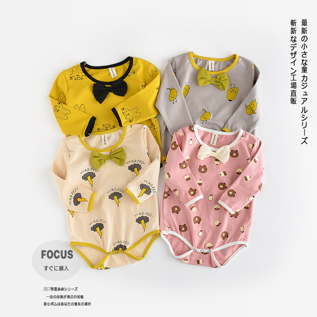 2017 Baby Spring Cotton Bodysuit Kids Boys Girls Long Sleeve Bow Knot Ins Bear Animal Autumn Jumpsuit Climbing Cloth