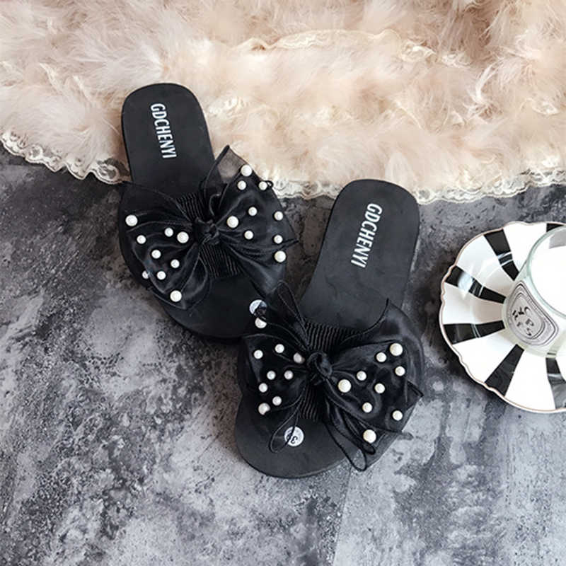 sweet lace bow knot flip flops ladies pearl studs open toe beach slides woman comfortable wedges slippers lady flower mules