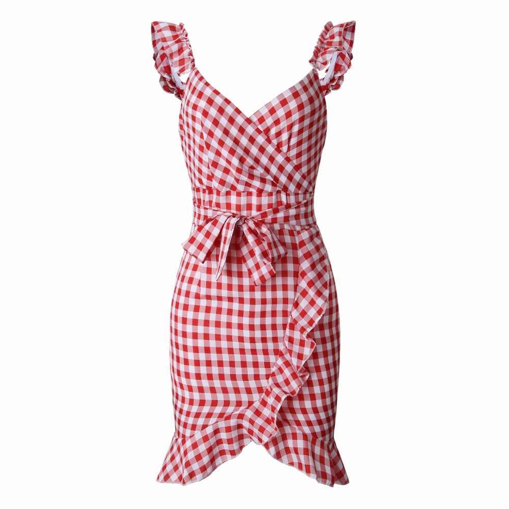 Лето 2019 новое женское Красное Мини платье без рукавов пляжное платье повседневное клетчатое уличная дамское винтажное платье с оборками Короткое платье Vestido