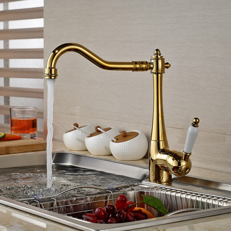 Luxury One hole handle Brass Golden Kitchen Faucet Deck Mount Swivel Rotation Kitchen Mixer Taps