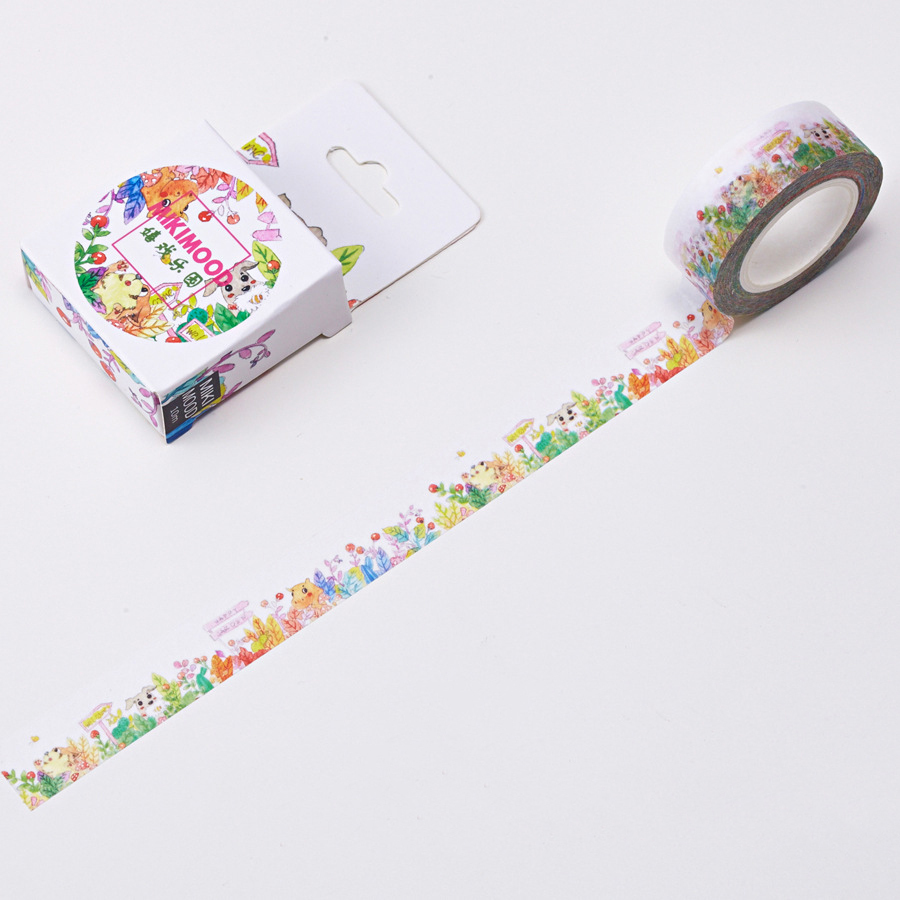1 PCS Creative Cute 15mmx10m Carolyn Play Paradise Washi Decorative Adhesive Tape DIY Masking Paper Tape Sticker Office Supplies