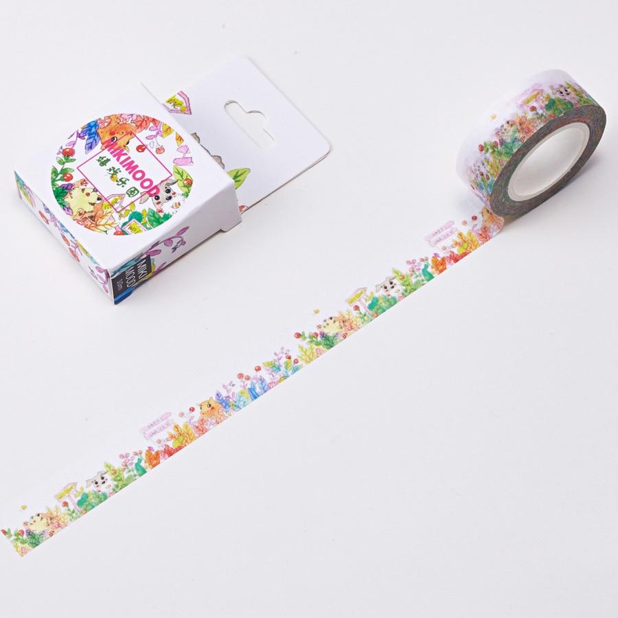 1 PCS Creative Cute 15mmx10m Carolyn Play Paradise Washi Decorative Adhesive Tape DIY Masking Paper Tape Sticker Office Supplies