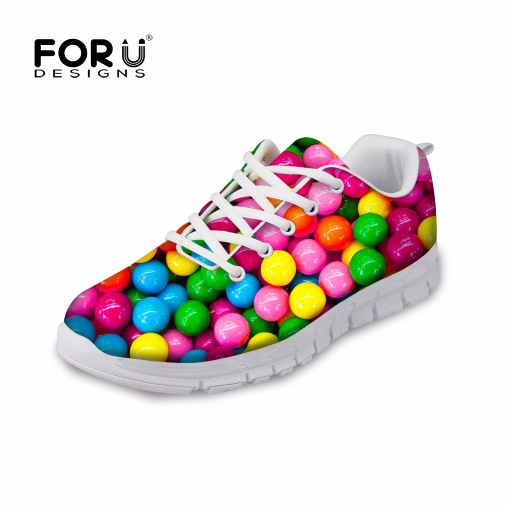 FORUDESIGNS 2017 Fashion Women S Flats Cute Mixed Candy Color Printed Spring Casual Lace Up Light