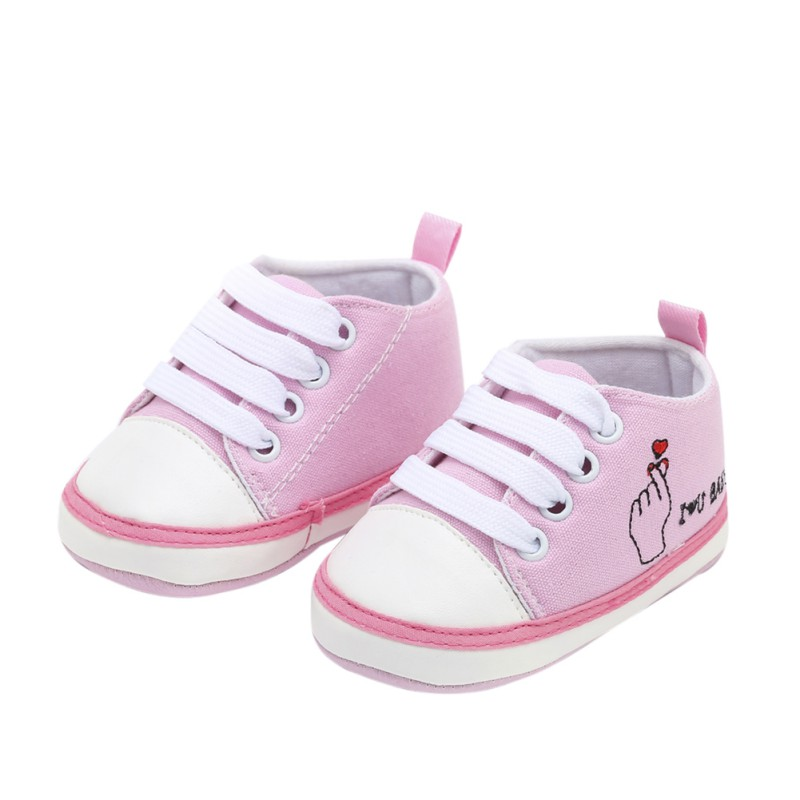 Baby Boy Girl Toddler The First Walker Shoes Children Letter Printing Pattern Canvas Shoes Baby Lace-Up Shoes