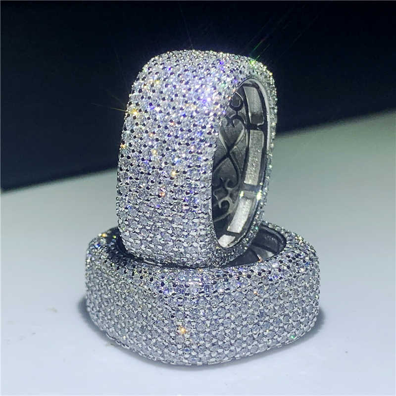 Fait Main de luxe Creux Bague 925 en Argent sterling 450 pièces AAAAA cz Éternité Anneau Carré De Mariage Bijoux De Mariée