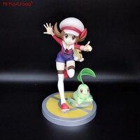 18CM Pokemons Lyra & Chikorita PVC Model Action Figure Novelty Children Doll Toys New Japanese Anime collections HC59