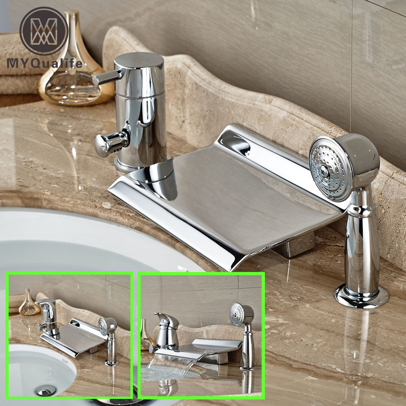 Deck Mount Widespread Waterfall Bath Tub Faucet Set 3pcs Brass Chrome Bathtub Mixer Tap + Handshower стоимость