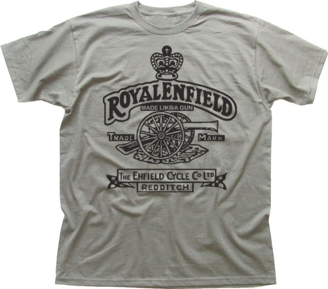 Anime Print Tee Royal Enfield - Made like a Gun logo T-Shirt Cartoon tee
