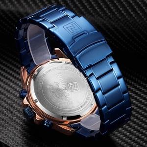 Image 5 - Orijinal NAVIFORCE lüks marka erkek spor saatler altın tam çelik su geçirmez askeri kuvars kol saati Relogio Masculino