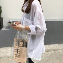 2019 White Blouse Women Turn-down Collar Long Sleeves Shirt Loose Casual Tops and Blouses Solid Blusas Femininas Sunscreen Shirt casual solid color long sleeves loose fitting shirt for women