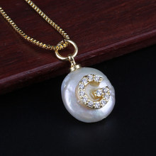 Hot Sale Gold Color Necklace Initial Letter CZ Freshwater Pearl Pendant Necklace Personalized Name Jewelry For Women Girl Gift(China)