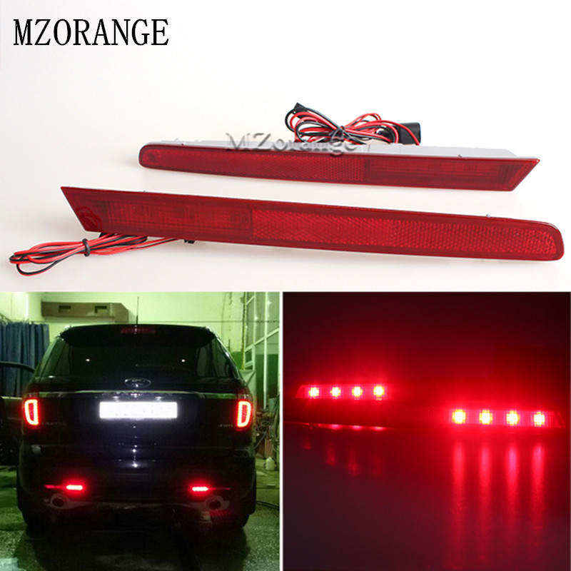 Car OEM Red Lens Left/Right Sides LED Bumper Reflectors Rear Fog Lights Stop Lamp For 2011 2012 2013 2014 2015 Ford Explorer