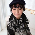 2016 New Infinity Spring Summer Luxury Brand for Women Fashionable Black and White Zebra lace Scarves Shawls Silk Scarf 180*105