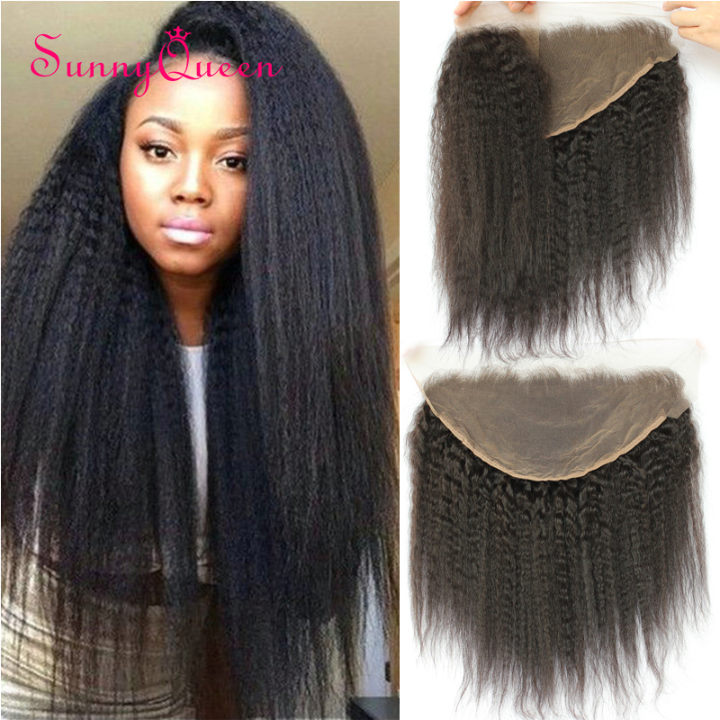 13x6 Lace Frontal Closure Bleached Knots 130% Density Brazilian Kinky Straight Ear To Ear Lace Frontal With Baby Hair 7A Frontal