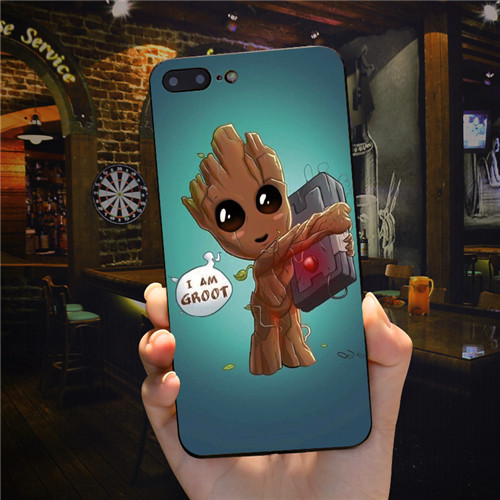 FATPERSON Phone shell Guardians of The Galaxy GROOT Lovely design Black cover case for iphone X 10 7 8 Plus 6 6S 5 5S SE 7Plus