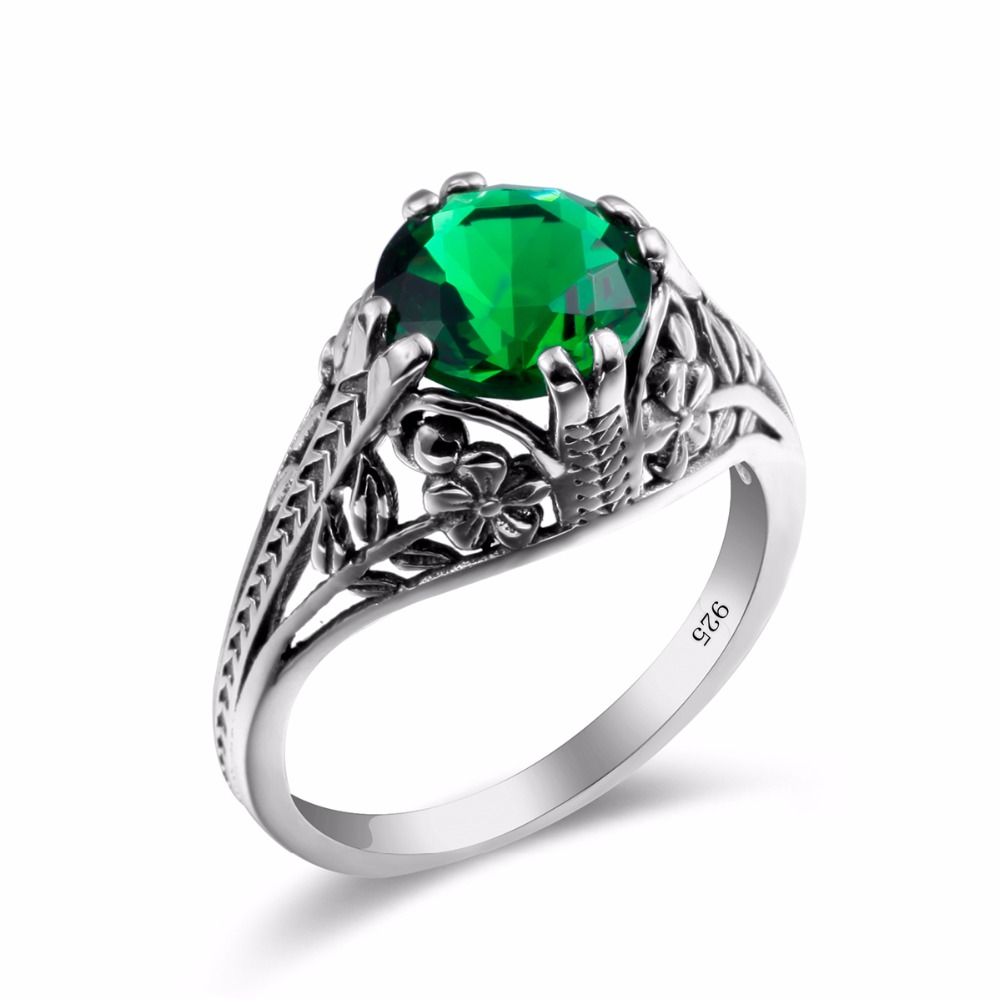 Turkish Jewelry 925 Sterling Silver Rings Retro Green Rhinestone Cz Flower  Shape Crystal Engagement Rings For Women Wholesale