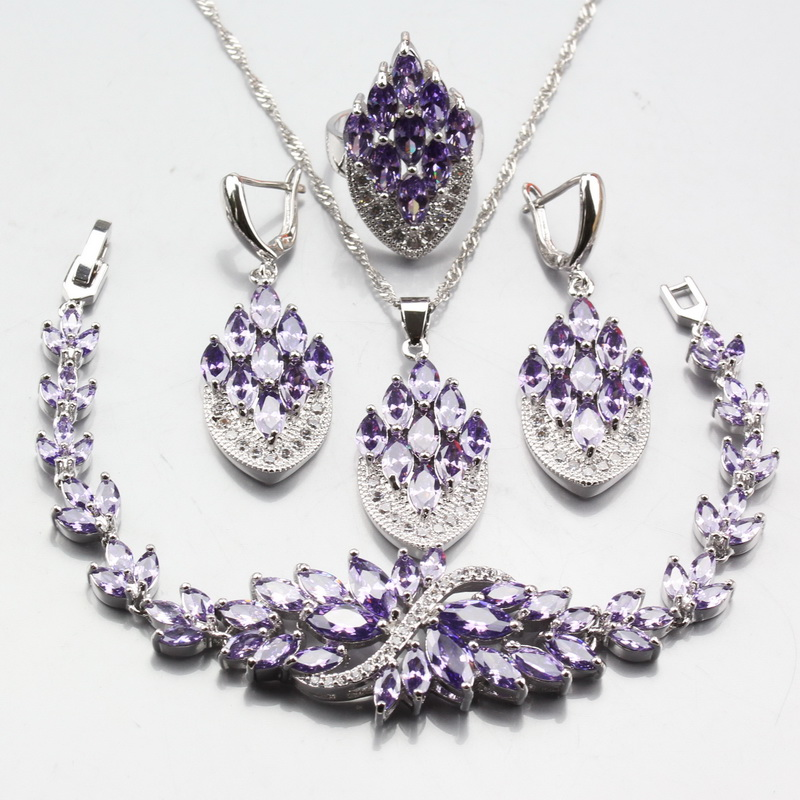 2018 Fashion 925 Sterling Silver For Women Ring Size 6# 7# 8# 9# 10# Purple Austria Crystal Bridal Wedding Jewelry Sets