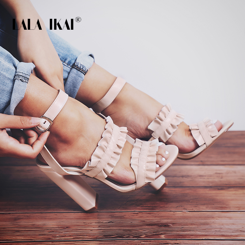 LALA IKAI Women Ruffles High Heel Sandals Solid Buckle Strap Square Heel Party Ladies Leather Dress Sandals 100C1920 -35 mcckle women high heel casual sandals female solid buckle strap matel decoration ladies square heel shoes 2017 woman fashion
