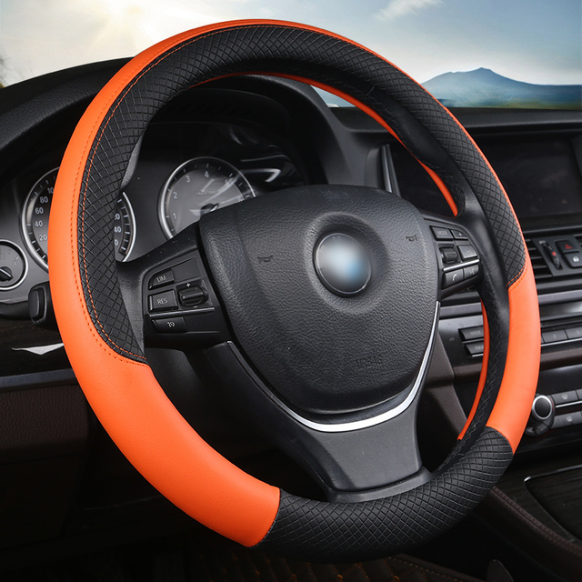 2018 NEW PU leather Steering Wheel Cover Universal 38cm Sport Design Steering Wheel Covers Case Auto Interior Fit For Most Car