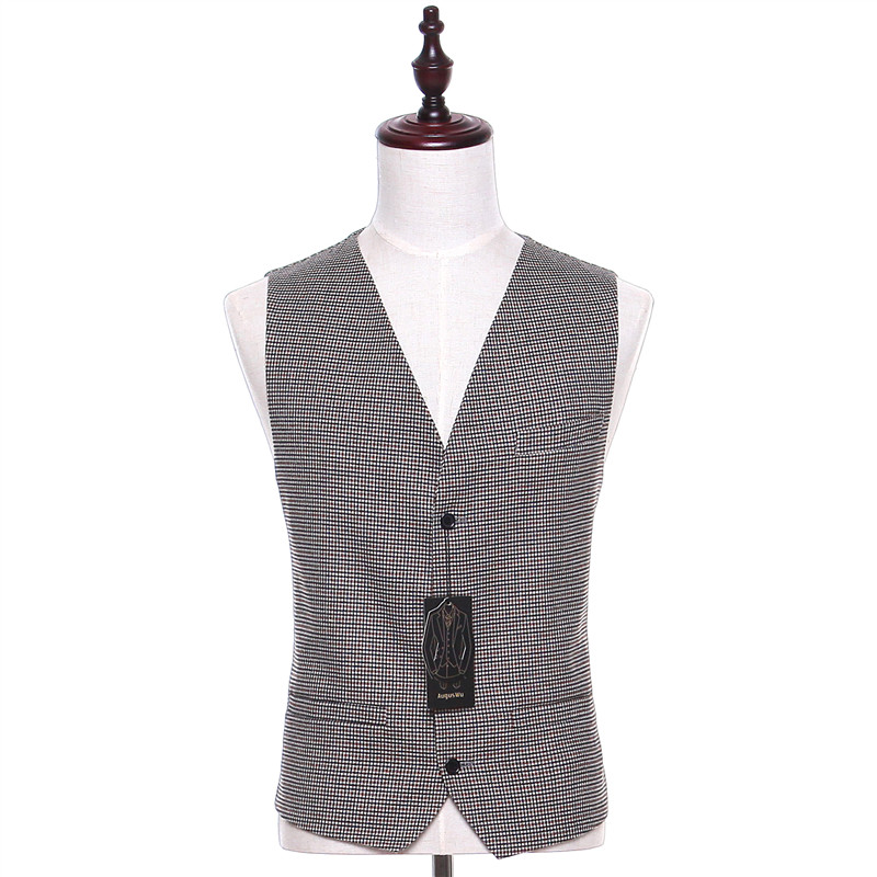 New Plaid Fabrics Men Suit Vest Sleeveless Light Gray Vintage Fashion Spring Autumn Waistcoat Four Button Two Pocket CUSTOM MADE