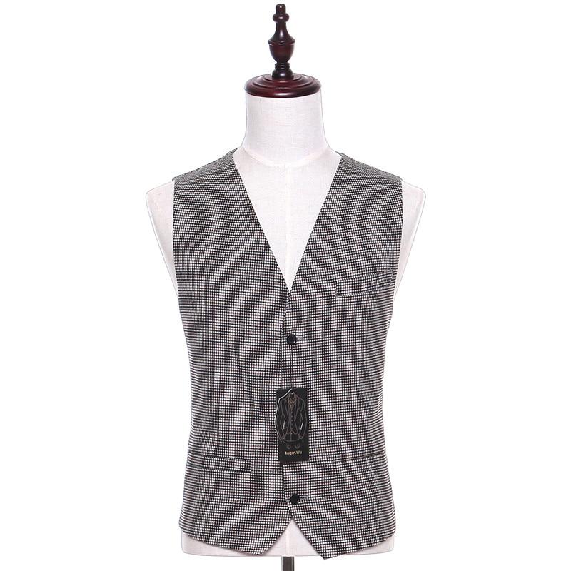 New Plaid Fabrics Men Suit Vest Sleeveless Light Gray Vintage Fashion Spring Autumn Waistcoat Four Button Two Pocket CUSTOM MADE