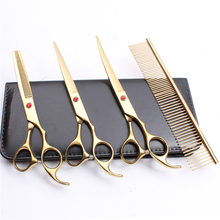C3003 4Pcs 7.0 19.5cm Engraving Logo Japan 440C Comb+Cutting+Thinning Scissors+UP Curved Shears Professional Pets Hair Scissors