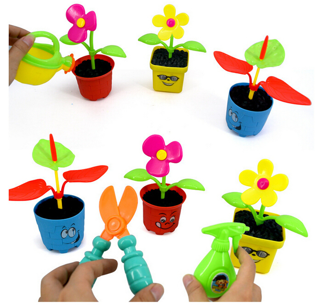 Happy farm flower toy set miniature farm toy garden for Gardening tools for 3 year old