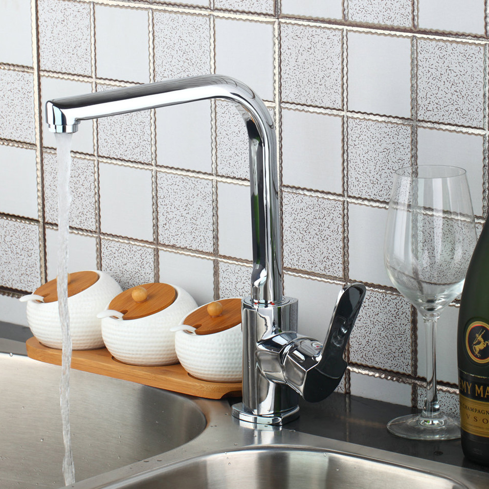 Superior Quality Kitchen Faucet Chrome Polished Deck Mounted Single Handle Single Hole Hot Cold Water Kitchen Faucet polished chrome deck mounted bathroom kitchen faucet tap single handle with brass soap dispenser