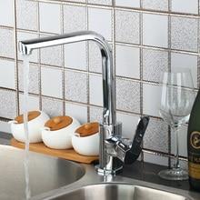 Превосходное качество кухонный кран хром полированный бортике одной ручкой на одно отверстие горячая холодная вода смеситель для кухни
