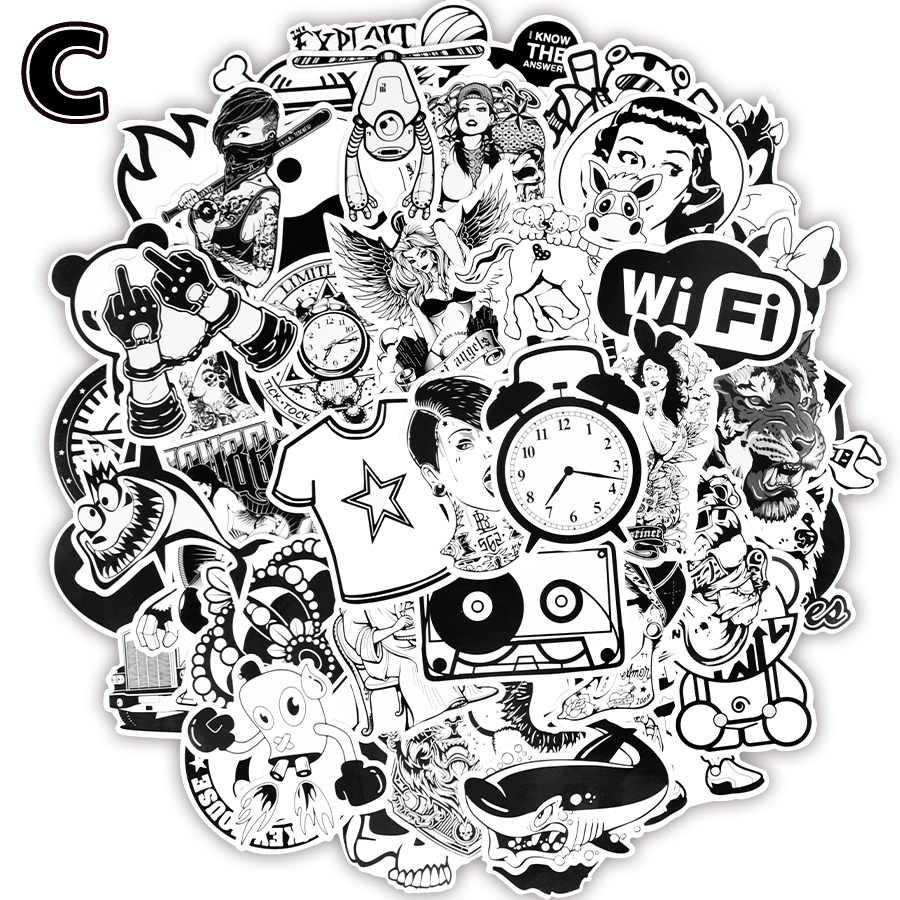100 шт. черно-белые наклейки игрушки для детей граффити Аниме Забавный бренд JDM наклейка на самодельный скейтборд портфель для ноутбука гитара