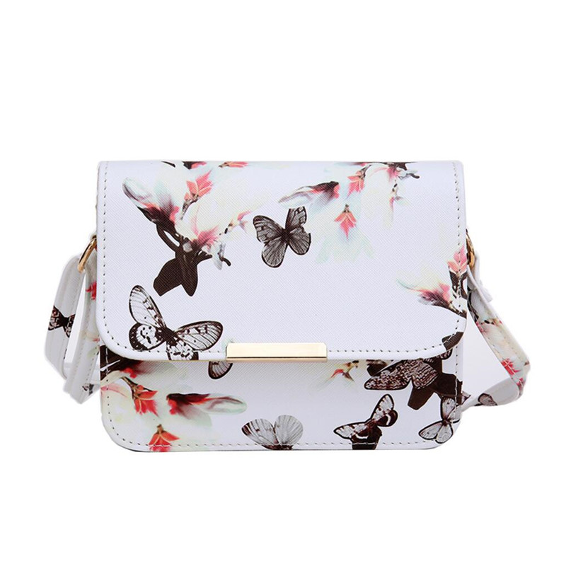 woman bag 2017 Luxury Women Bags Design Small Satchel Flower Butterfly Printed PU Leather Shoulder Bag Retro Crossbody Bag