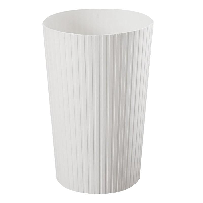 Bathrooms Wastebasket PP Plastic Trash Bin Offices Paper Basket Kitchens Rubbish Bin Garbage Container Bin Cream-Colored