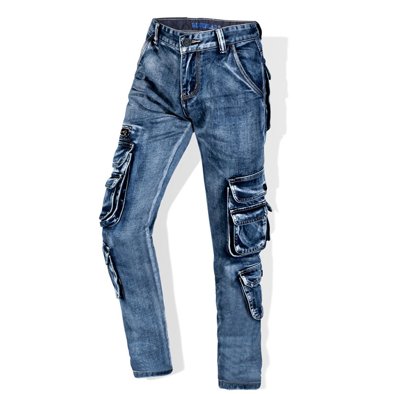 Men's Retro Cargo   Jeans   Multi Pockets Washed Straight fit Denim Pants Men's Brand Overalls   Jeans   x1650