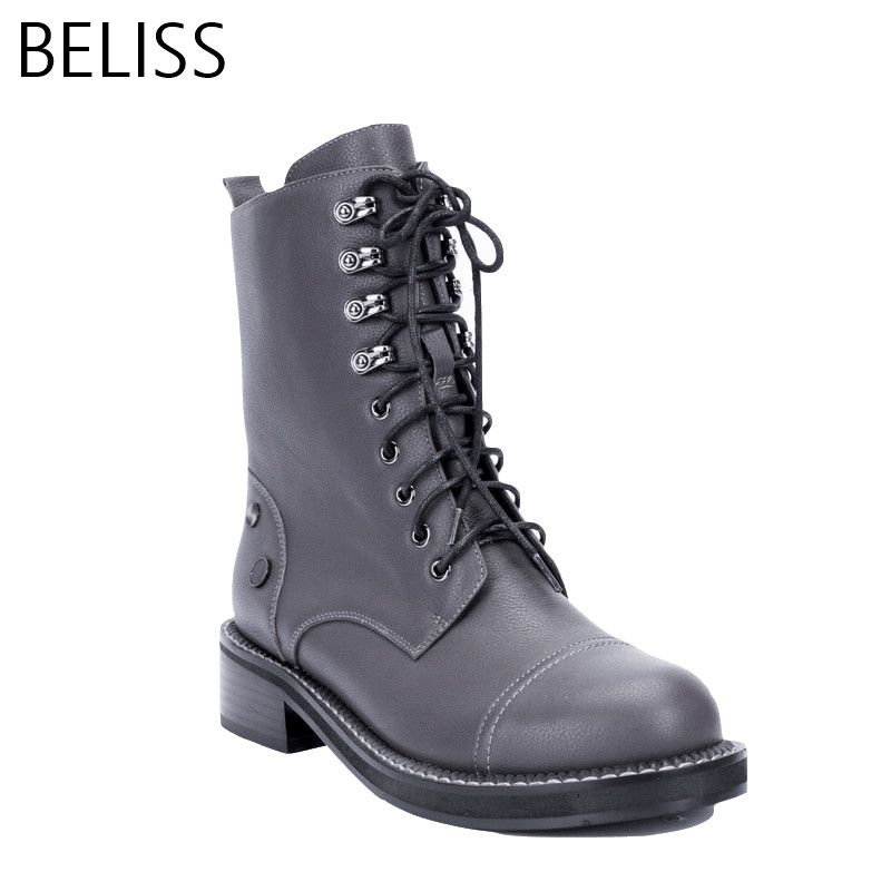 BELISS 2018 35-41 fashion boots women mid-calf spring autumn martin boots round toe good quality lace up Genuine Leather B27 original intention high quality women knee high boots nice pointed toe thin heels boots popular black shoes woman us size 4 10 5