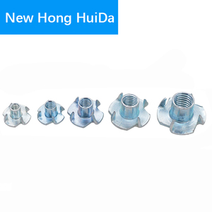 Image 5 - M3 M4 M5 M6 M8 M10 Zinc Plated Four Claws Metric Nut Speaker Nut T nut Blind Pronged Tee Nut Furniture Hardware