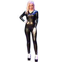 LinvMe Shiny 3D Galaxy Catsuit Wetlook Full Body Night Clubwear Metallic Zipfront Skinny Stretch Bodysuit Sexy Skinny Jumpsuit