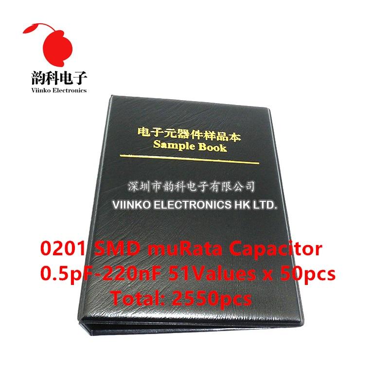 Конденсатор Серии SMD 0201, Япония, Мурата GRM033, книга для образцов, ассорти в комплекте, 51valuesx50pcs = 2550pcs (от 0,5 PF до 220NF)