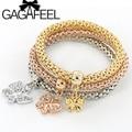 GAGAFEEL 3PCS Girls Butterfly Charm Bracelets Bangles Gold Plated Friendship Bracelet Bijioux Pendant Bracelet Pulseira Feminina