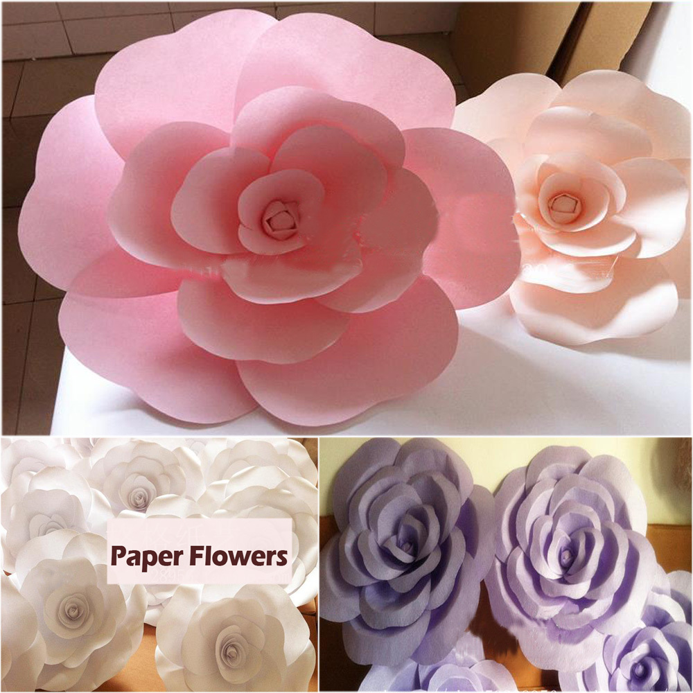 Big size Wedding decoration of large paper flowers Pink White Yellow ...