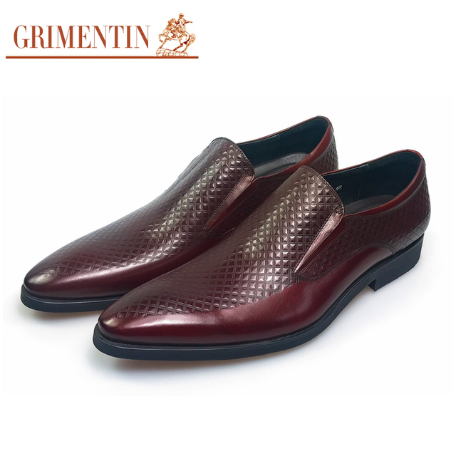 Grimentin Brand Genuine Leather Mens Dress Shoes Casual Black Wedding Business Office Designer Male Men