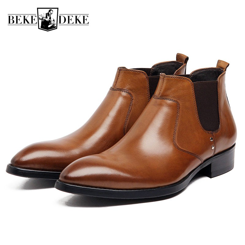Fashion Men Ankle Boots Genuine Leather Luxury Slip On Business Formal Shoes Large Size High Quality Wedding Dress Chelsea Boots fashion genuine leather men oxford shoes slip on casual office formal business men shoes brand men wedding shoes men dress shoes