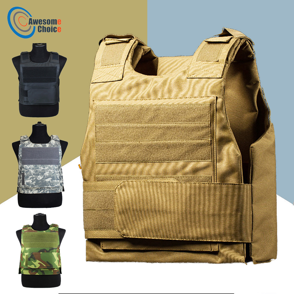 Security Guard Anti-Stab Tactical Vest With Two Foam Plate Military Miniature Hunting Vests  Adjustable Shoulder Straps