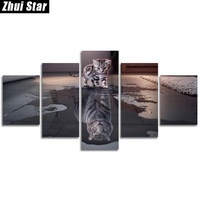 Zhui Star 5D DIY Full Square Round Diamond Painting Cat Tiger Multi Picture Combination 3D Embroidery