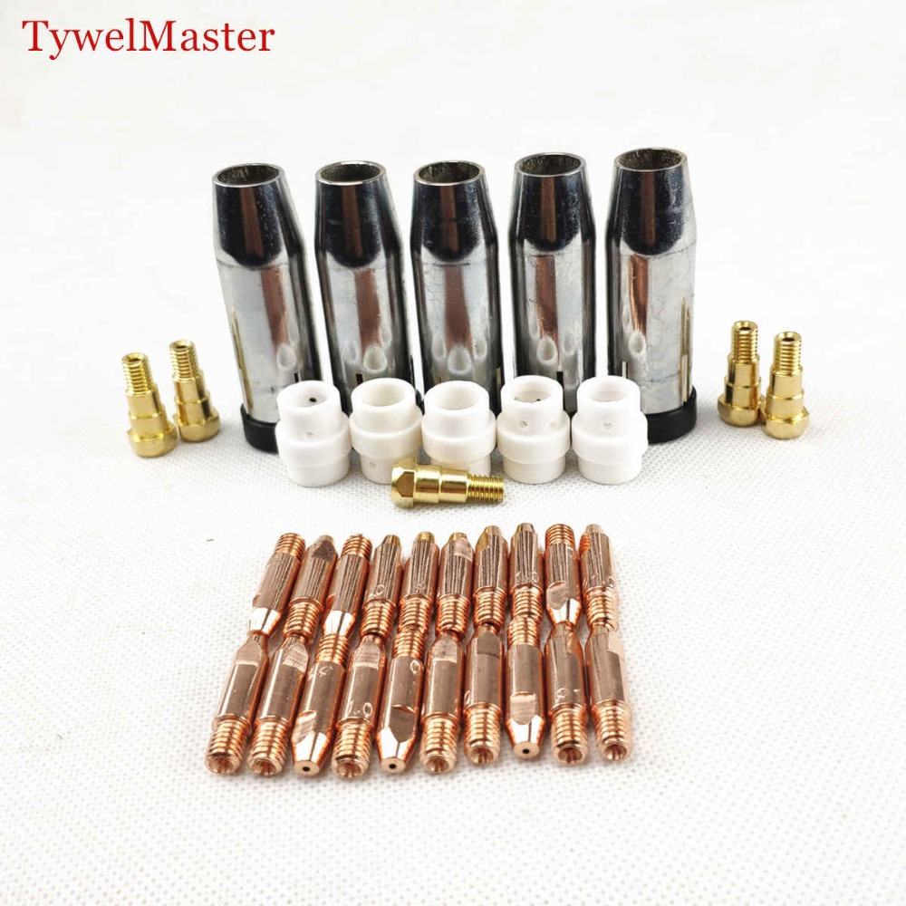 MB 24KD Welding Torch Consumable 35pcs 0.8mm 1.0mm 1.2mm MIG Torch Gas Nozzle Tip Holder Gas Diffuser Of MIG MAG Welding Machine