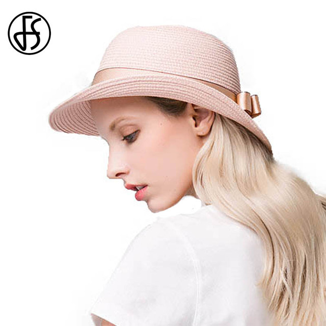 35e9392de FS Fashion Female Summer Straw Sun Hat For Women Pink Outdoor Beach Curl  Brim Girls Floppy Fedora With Bow Uv Protect Caps-in Sun Hats from Women's  ...