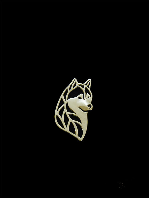 Trendy Siberian husky head dog brooches and pins  plated silver plated men brooches fashion jewelry hand of king